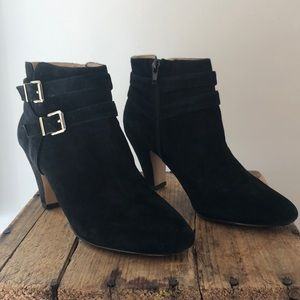 INC black suede ankle boots